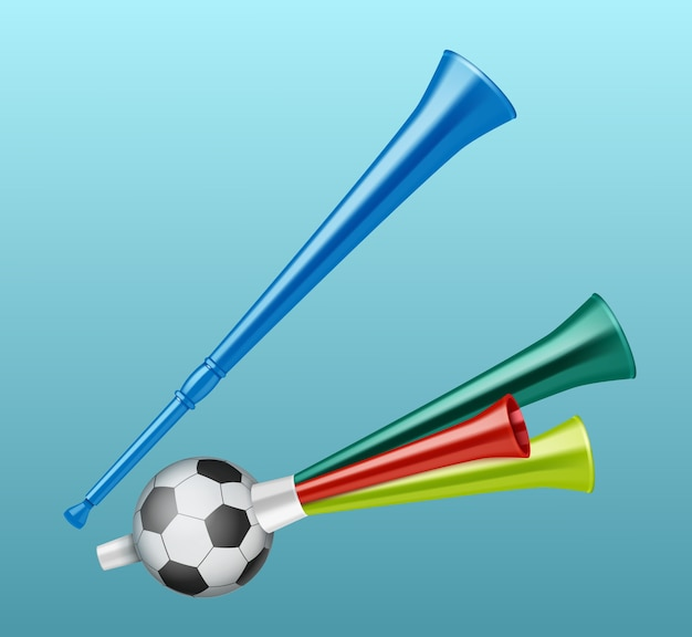 Trombe tifoso di calcio diversi tipi Vettore gratuito