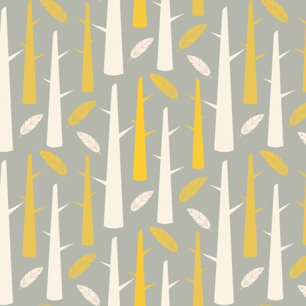 Trunks and feathers pattern design Free Vector