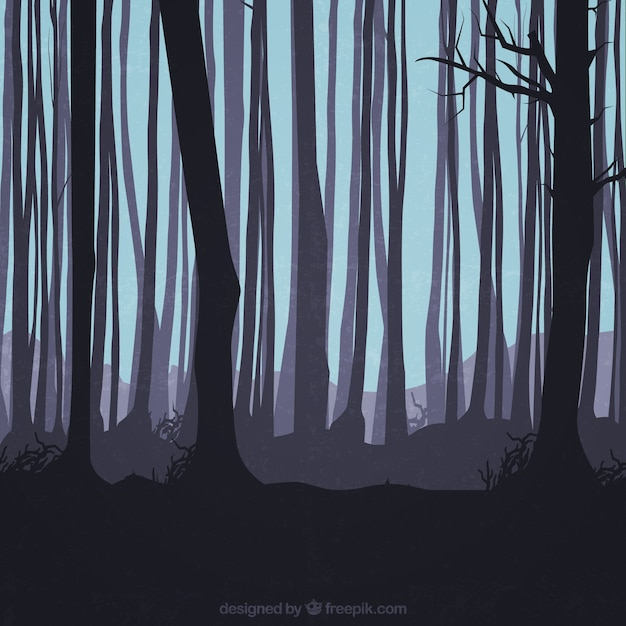 Trunks silhouettes in the forest Free Vector