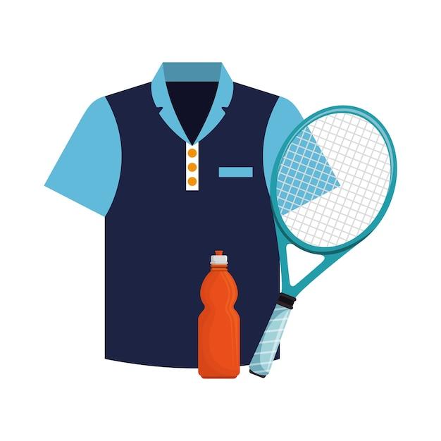 Tshirt bottle water and racket tennis icons Premium Vector