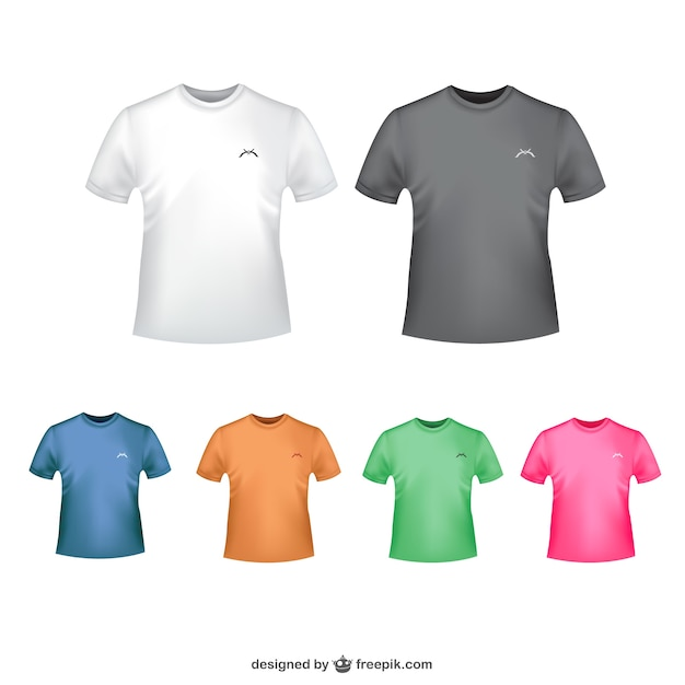Tshirt in diferent colors Free Vector 06be1370c