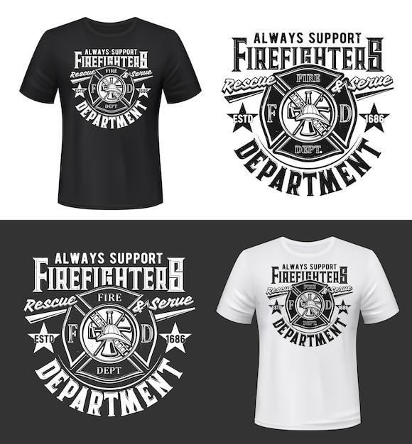 消防士のヘルメット、斧、はしご、給水塔のtシャツプリント Premiumベクター