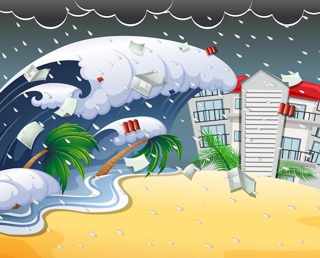 Tsunami hitting beach resort Premium Vector