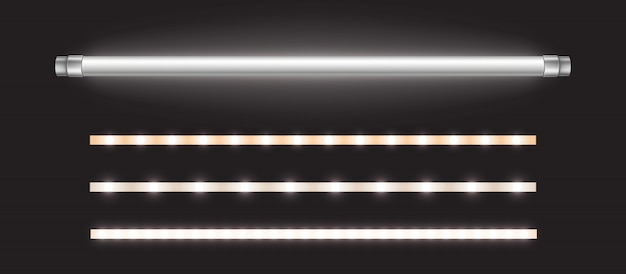 Tube lamp and led strips, long fluorescent bulb Free Vector