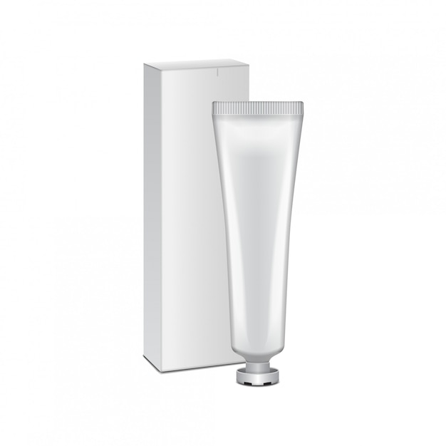 Tube With White Box Cream Gel Skin Care Toothpaste Ready For Your White Packaging Template Premium Vector