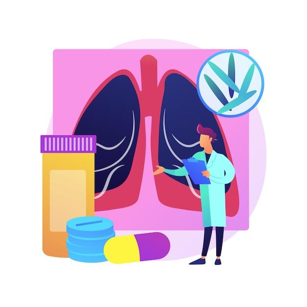 Illustrazione di concetto astratto di tubercolosi. giornata mondiale della tubercolosi, infezione da micobatterio, diagnostica e trattamento, malattia polmonare infettiva, metafora astratta di infezione contagiosa. Vettore gratuito