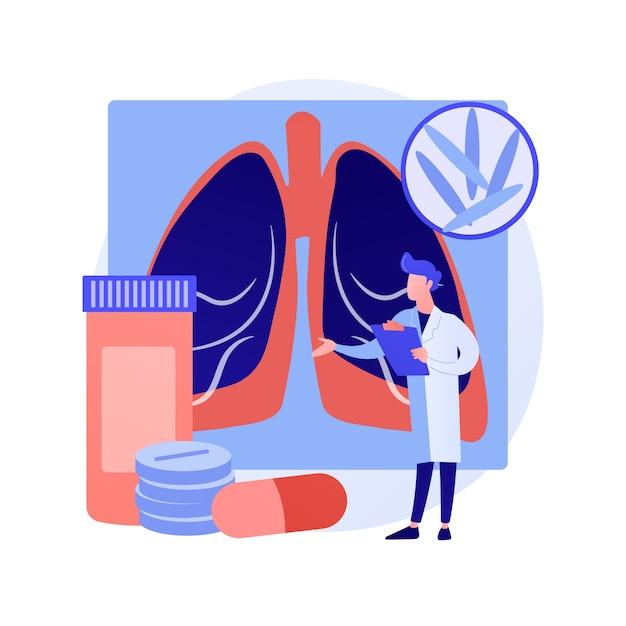 結核の抽象的な概念のベクトル図です。世界結核デー、マイコバクテリウム感染症、診断と治療、感染性肺疾患、伝染性感染症の抽象的な比喩。 無料ベクター