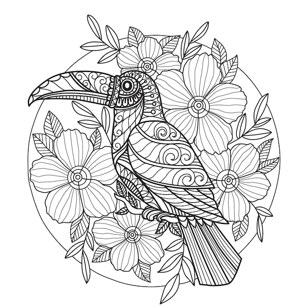 tucan-flower-coloring-page-adults_52104-238.jpg (626×626)