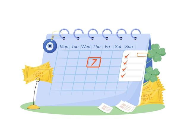 火曜日7フラットコンセプト。ウェブデザインのための幸運のチケットとお守りの2d漫画の構成とカレンダー。迷信、幸運な日の創造的なアイデア。幸運のシンボル Premiumベクター