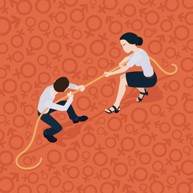 Tug of war. battle of the sexes. man against woman Premium Vector