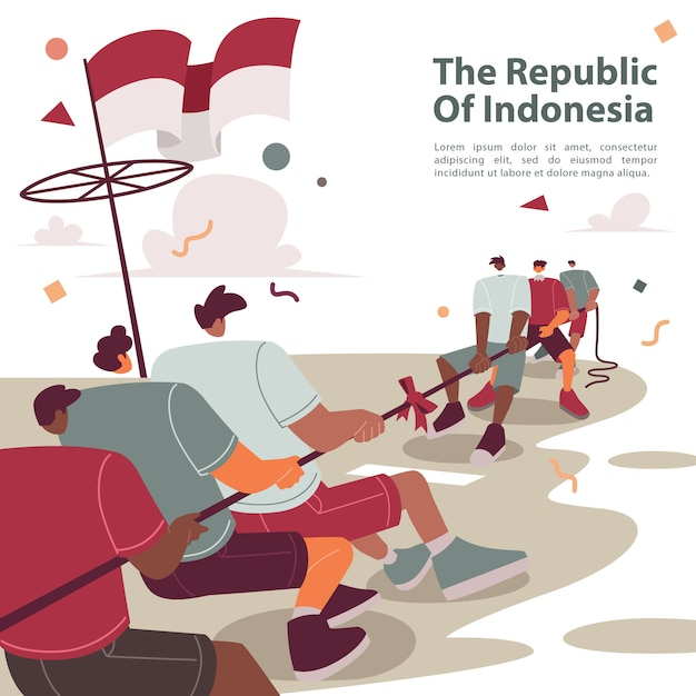 Tug of war in indonesian independence day Premium Vector