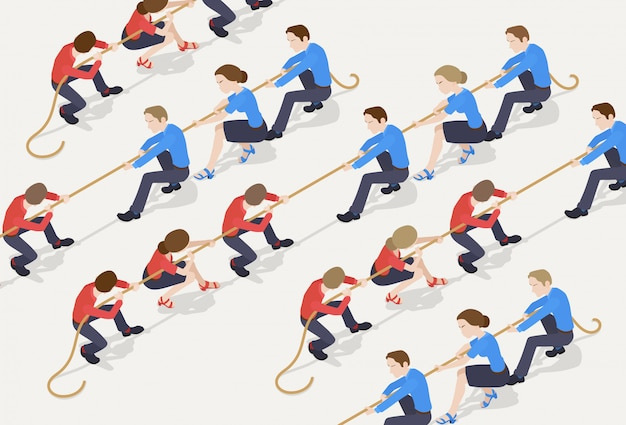 Tug of war. the red team against the blue team of office workers Premium Vector