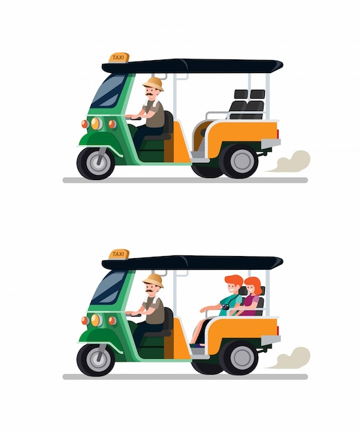 Tuk tuk rickshaw traditional transportation from thailand with driver and tourist couple icon set. cartoon flat vector illustration Premium Vector