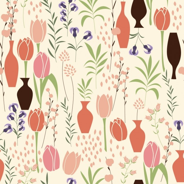 Tulips pattern design Free Vector