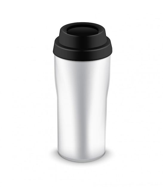 Бутылка кружка для путешествий. термокружка пластиковая или металлическая кофейная кружка дизайн шаблона Premium векторы