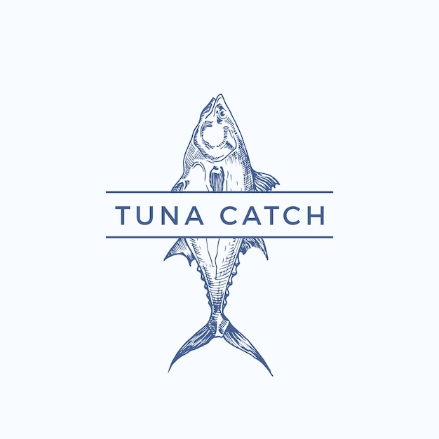 Tuna catch abstract sign, symbol or logo template. hand drawn tuna fish with classy typography. vintage emblem for a restaurant, cafe, market, etc. isolated. Premium Vector