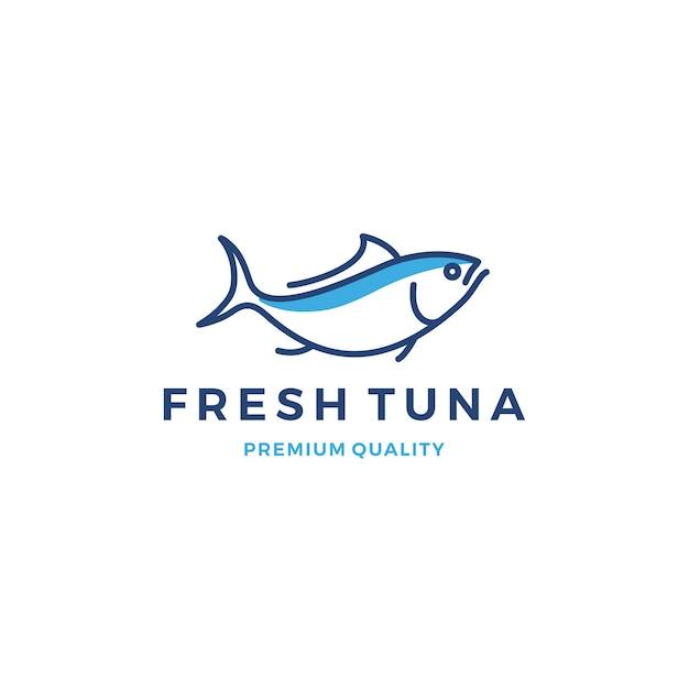 Tuna fish logo emblem label seafood vector icon Premium Vector