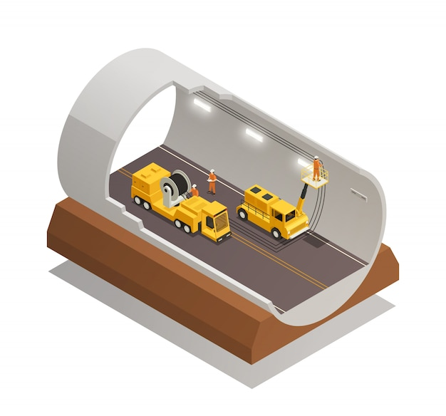 Tunnel construction composition Free Vector