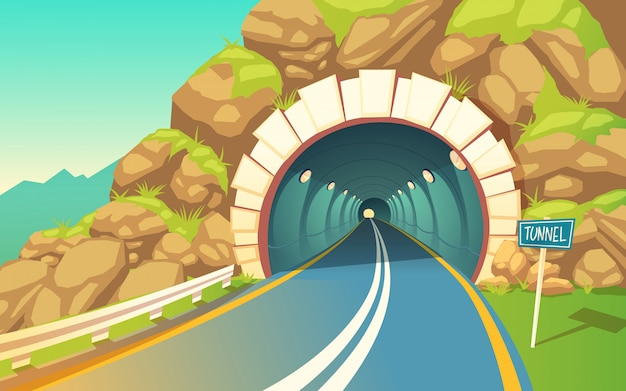 Tunnel, highway. grey asphalt with road marking Free Vector