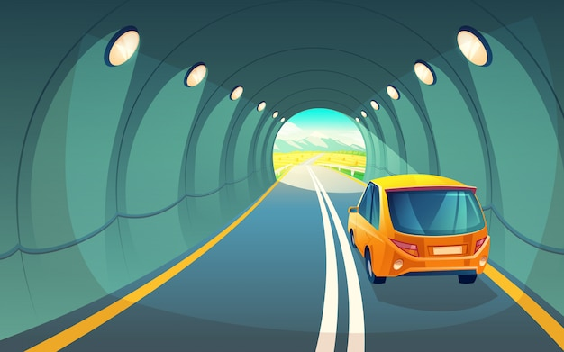 Tunnel with car, highway for vehicle. grey asphalt with lighting in underground Free Vector