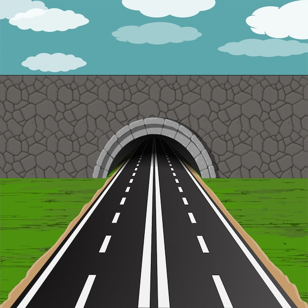 Tunnel with road illustration Premium Vector