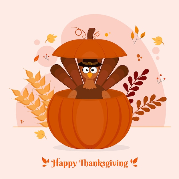 Turkey bird wearing pilgrim hat inside pumpkin with leaves and wheat ears on white background for happy thanksgiving celebration. Premium Vector