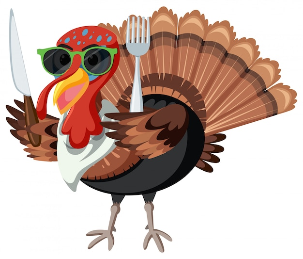 A turkey character on white background Free Vector