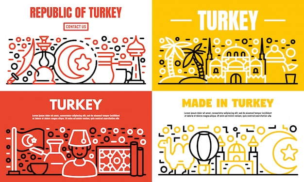 Turkey country banner set, outline style Premium Vector