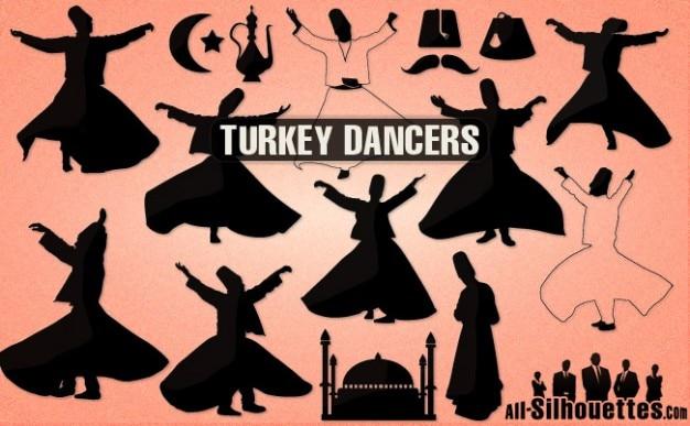 Turkey dancers silhouettes