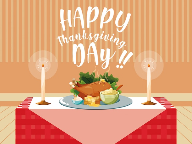 Turkey dinner of thanksgiving day in table Premium Vector