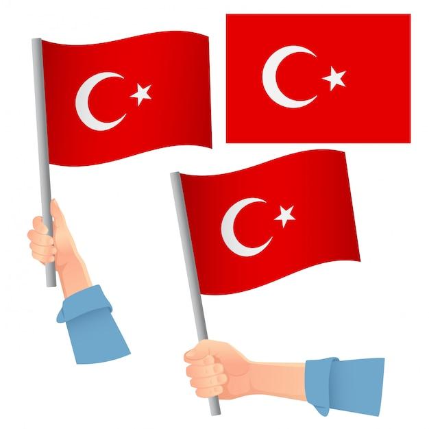 Turkey flag in hand set Premium Vector