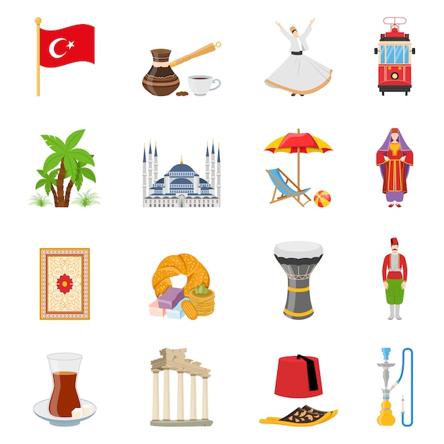 Turkey flat colored icons set Free Vector