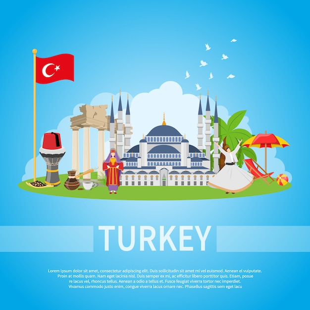 Turkey flat composition Free Vector