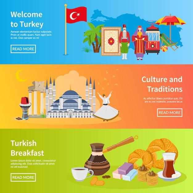 Turkey flat horizontal banners Free Vector
