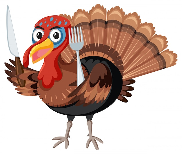 Turkey holding knife and fork Free Vector