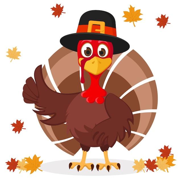 帽子のトルコは、紅葉と白い背景のように示しています。感謝祭の日。 Premiumベクター