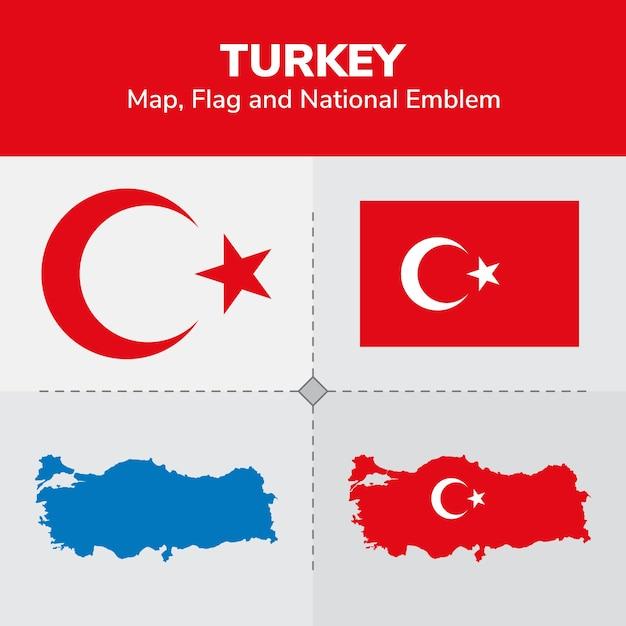 Турция карта, флаг и национальный герб | Премиум векторы