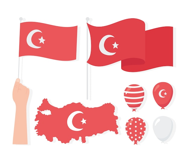 Turkey republic day, map flags balloons icons set illustration Premium Vector