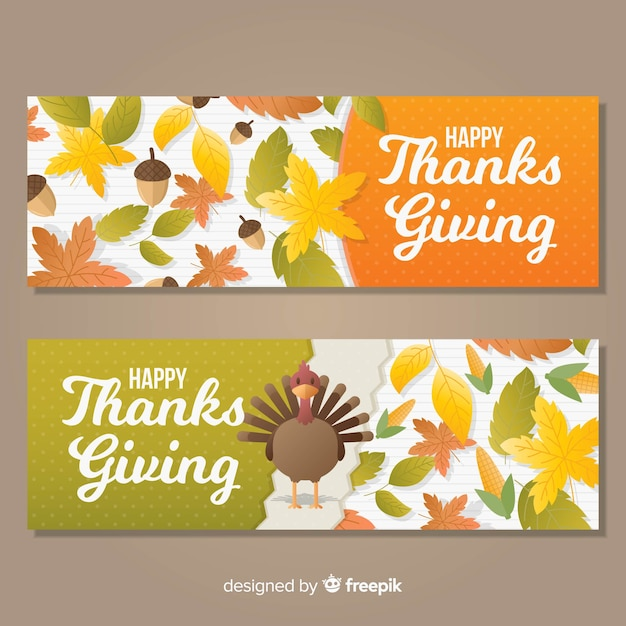 Turkey thanksgiving day banner set Free Vector