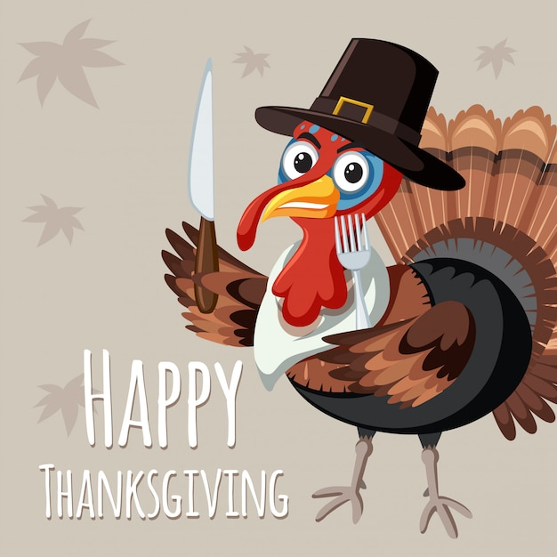 Turkey on thanksgiving template Free Vector