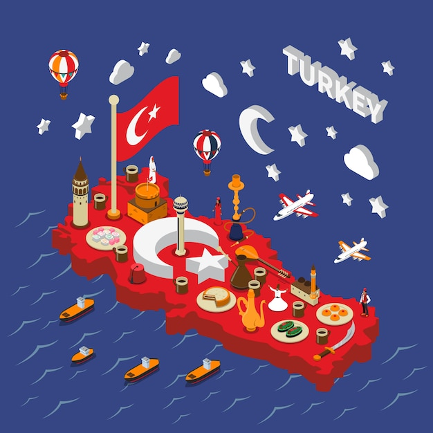 Turkey touristic  attractions isometric map poster Free Vector