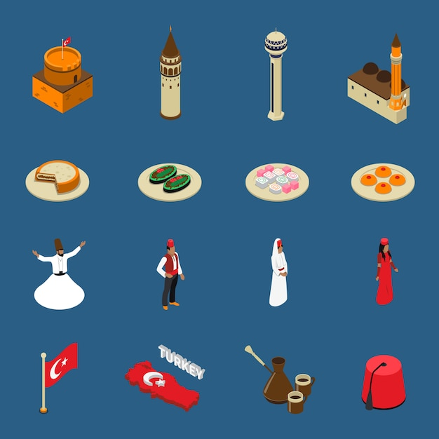 Turkey touristic isometric symbols icons collection Free Vector