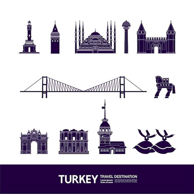 Турция путешествия назначения грандиозная иллюстрация. Premium векторы