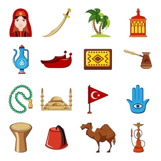 Turkey travel icons set Premium Vector