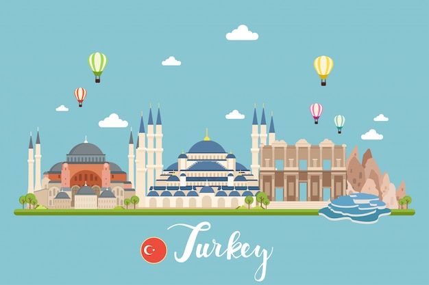 Turkey travel landscapes vector illustration Premium Vector