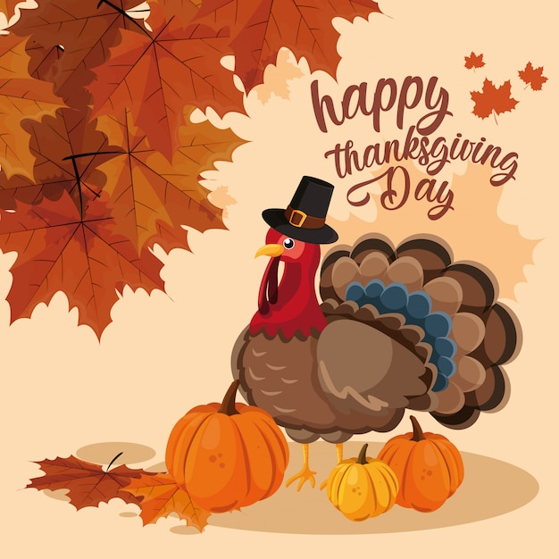 Turkey with pumpkins and hat pilgrim of thanksgiving day Premium Vector
