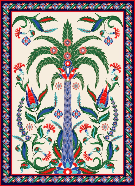 Turkish and arabic ornament elements such us palm, flowers and paisley. Premium Vector