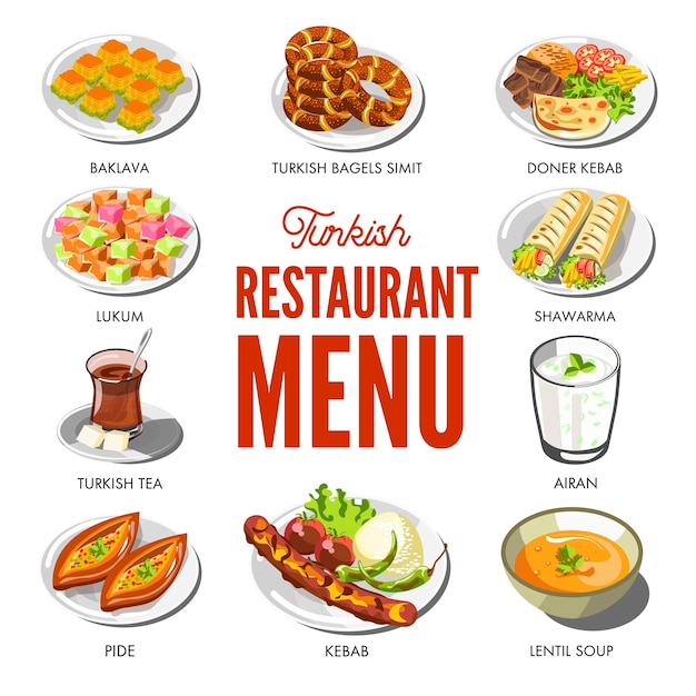 Turkish cuisine food and traditional dishes Premium Vector
