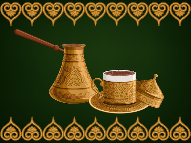 Turkish decorated copper cezve and cup of coffee. Premium Vector