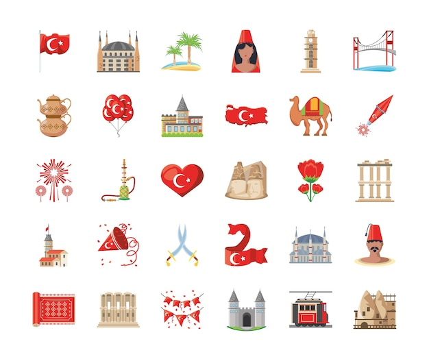 Turkish detailed style 30 icon set design, turkey culture travel and asia theme vector illustration Premium Vector